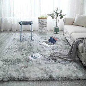 Nursery Area Rug Non Skid Fluffy Rugs Shag Throw Rug for Baby Children Playroom Women Yoga Mat Faux Sheepskin Fur Area Rugs Floor Mat Bedside Carpet for Sitting Room Bedroom Dormitory Gray 5.3 x 6.6ft