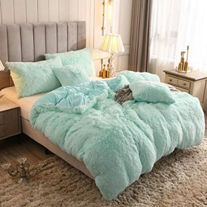 YOUHAM Solid Fluffy 1PC Faux Fur Plush Duvet Cover Luxury Shaggy Velvet Bedspread Zipper Closure (Aqua, Twin)