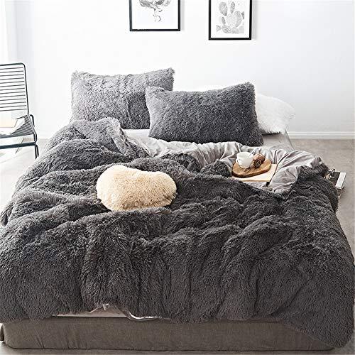 MooWoo 4 PCS Luxury Shaggy Plush Bedding Sets, 1 Fluffy Faux Fur Duvet Cover + 1 Velvet Bed Flat Sheet + 2 Furry Pillow Shams, Zipper Closure, 4 PCS (Dusty Grey, Queen)