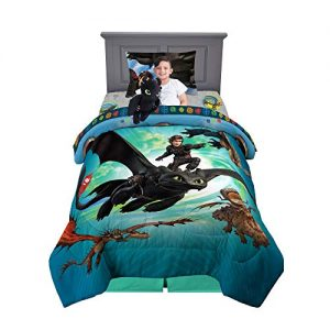 Franco Kids Bedding Soft Comforter with Sheets and Plush Cuddle Pillow Set, 5 Piece Twin Size, How to Train Your Dragon