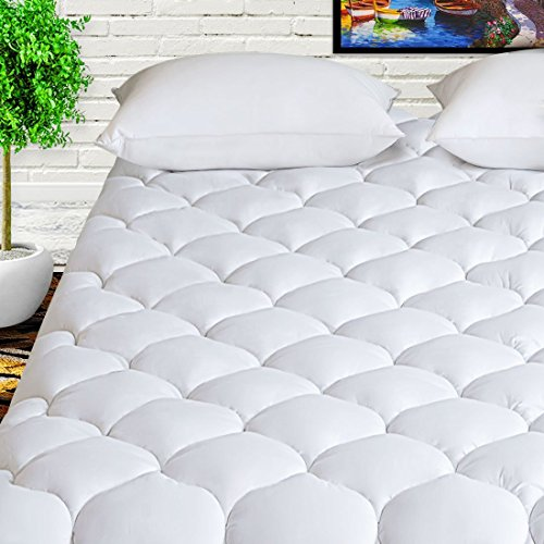 """HARNY Mattress Pad Cover Queen Size 400TC Cotton Pillow Top Cooling Breathable Mattress Topper Quilted Fitted with 8-21"""" Deep Pocket"""
