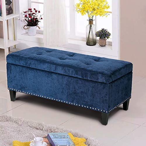 Asense Microfiber Rectangle Tufted Lift Top Storage Ottoman Bench, Footstool with Solid Wood Legs, Nailhead Trim