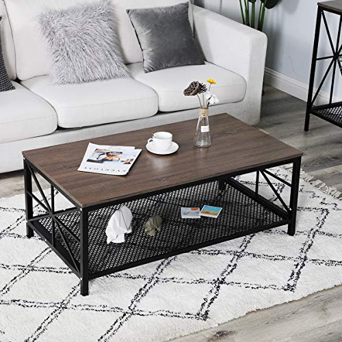 """Living Room Table, Alecono 43.3"""" Rectangle Coffee Table with Metal Frame Cocktail Table for Home Office Desk, Brown"""
