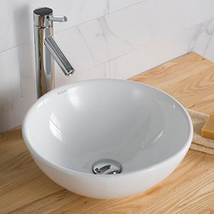 Kraus KCV-141 White Round Ceramic Bathroom Sink