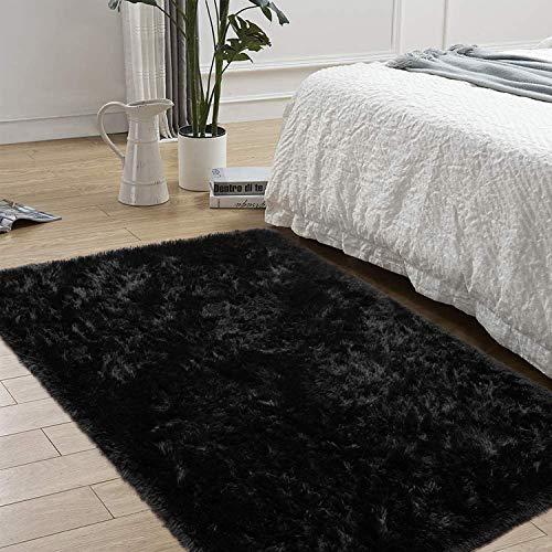 AROGAN Soft Fluffy Bedroom Rug Shag Area Rugs for Kids Nursery, Modern Furry Fur Carpet, Luxury Velvet Solid Color Plush Carpets for Living Room Boys Girls, 4x6 Feet Black