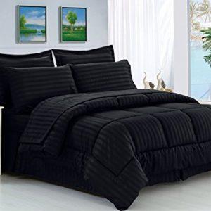 Elegance Linen 21RW-KING-8PC Stripe Comforter-Black Wrinkle Resistant - Luxury Silky Soft Dobby Stripe Bed-in-a-Bag 8-Piece Comforter Set --Hypoallergenic - King Black