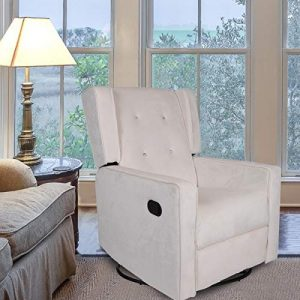 Polar Aurora Swivel Gliding Rocker Recliner Suede Tufted Upholstered Glider for Nursery, Study and Living Room/Microfiber 6 Color (Beige)
