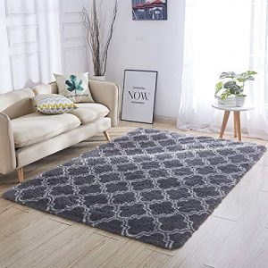 Luxury Velvet Shag Area Rug Mordern Indoor Plush Fluffy Rugs, Extra Soft and Comfy Carpet, Geometric Moroccan Rugs for Bedroom Living Room Girls Kids