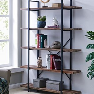 Homissue 5-Tier Bookcase, Vintage Industrial Wood and Metal Bookshelves