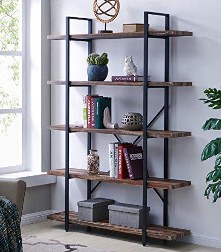 Homissue 5-Tier Bookcase, Vintage Industrial Wood and Metal Bookshelves