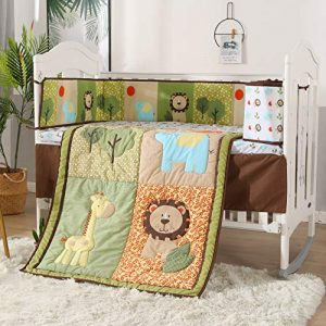 Wowelife Green Jungle 7 Piece Crib Bedding Elephant Lion Baby Nursery Bedding Set(Green Forest)