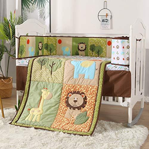 Wowelife Green Jungle 7 Piece Crib Bedding Elephant Lion Baby Nursery Bedding Set(Green Forest)