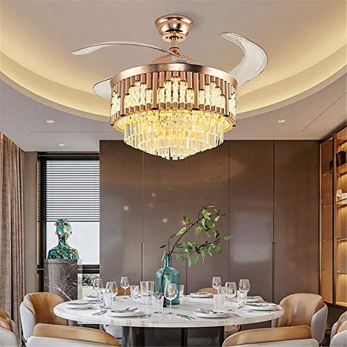 42Inch Modern Crystal Ceiling Fan Light with Remote Control, Gold Polished Retractable LED Ceiling Fan Chandelier 3-Color Lighting 3 Wind Speed Fandelier for Bedroom Living Room