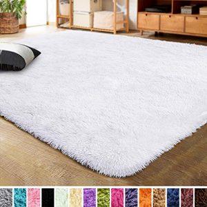 LOCHAS Ultra Soft Indoor Modern Area Rugs Fluffy Living Room Carpets for Children Bedroom Home Decor Nursery Rug 5.3x7.5 Feet, White