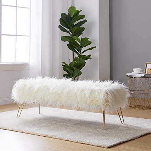"""Ornavo Home Modern Contemporary Faux Fur Long Bench Ottoman Foot Rest Stool/Seat with Gold Metal Legs - 15"""" L x 45"""" W x 15"""" H (White)"""