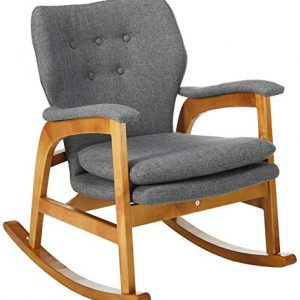 Christopher Knight Home Braant Mid-Century Fabric Rocker, Grey / Light Walnut