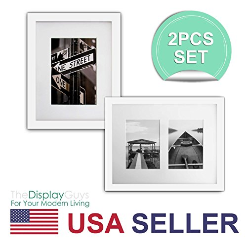 The Display Guys~ 2 Sets 8x10 Inch White Picture Frame Made of Solid Pine Wood and Real Glass, Luxury Made Affordable, with White Core Mat Boards 2 for 5x7 Photo + 2 for 2-4x6 Photos (White)