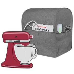 Homai Stand Mixer Cover for 4.5 and 5 Quart KitchenAid Mixer, Cloth Dust Cover with Pocket for Extra Attachments (Gray)