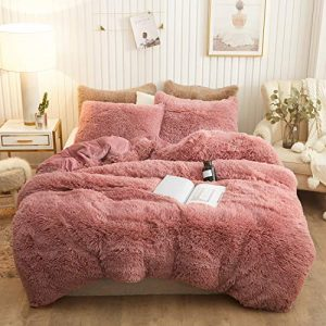 XeGe Plush Shaggy Duvet Cover Set Luxury Ultra Soft Crystal Velvet Bedding Sets 3 Pieces(1 Faux Fur Duvet Cover + 2 Faux Fur Pillowcases),Zipper Closure(King,Old Pink)