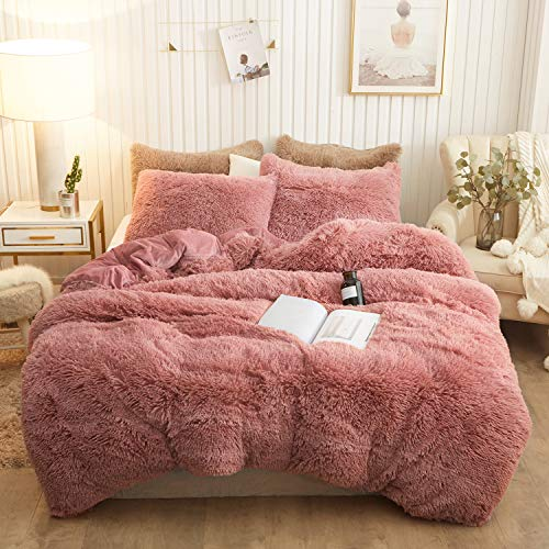 XeGe Plush Shaggy Duvet Cover Set Luxury Ultra Soft Crystal Velvet Bedding Sets 3 Pieces(1 Faux Fur Duvet Cover + 2 Faux Fur Pillowcases),Zipper Closure(King,Old Pink)