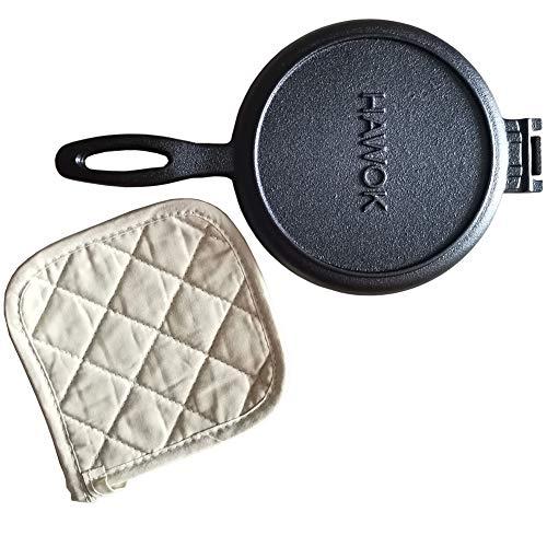 HAWOK Cast Iron Waffle Iron Waffle Maker with Pot Holder