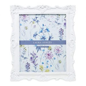 Laura Ashley 8x10 White Ornate Textured Hand-Crafted Resin Picture Frame with Easel & Hook for Tabletop & Wall Display, Decorative Floral Design Home Décor, Photo Gallery, Art, More (8x10, White)