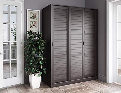 Palace Imports 100% Solid Wood Wardrobe with 3 Sliding Louvered Doors, Java. 5 Shelves Included. Additional Large Shelves Sold Separately.