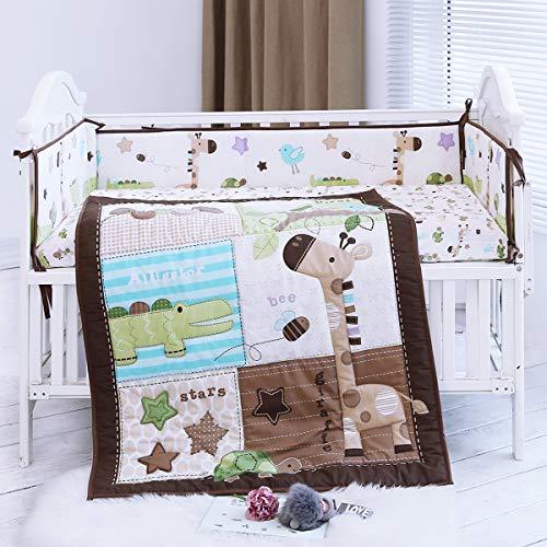 Cute Safari Neutral Animal Baby Boy 8Pieces Nursery Crib Bedding Set with Bumper