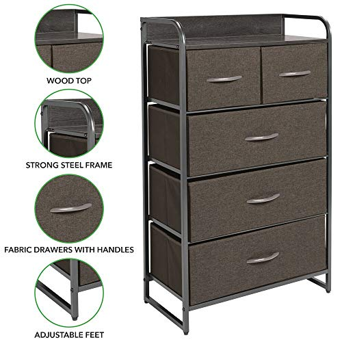mDesign Tall Dresser Storage Chest, Sturdy Steel Frame, Wood Top and Handles mDesign Tall Dresser Storage Chest, Sturdy Steel Frame, Wood Top & Handles, Easy Pull Fabric Bins - Organizer Unit for Bedroom, Hallway, Closet, Textured Print, 5 Drawers - Charcoal Gray/Graphite Gray.