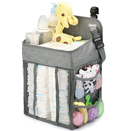 Changing Table Diaper Organizer - Baby Hanging Diaper Stacker Nursery Caddy Organizer for Cribs Playard Baby Essentials Storage (Gray)
