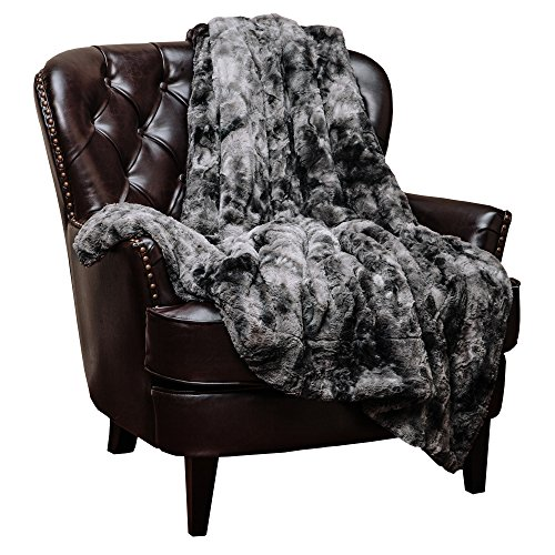 Chanasya Fuzzy Faux Fur Throw Blanket - Soft Light Weight Blanket for Bed Couch and Living Room Suitable for Fall Winter and Spring (60x70 Inches) Gray