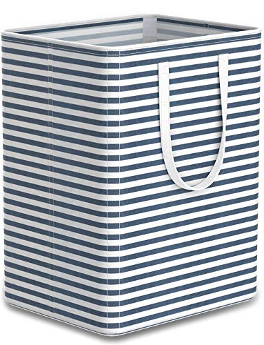 Tribesigns 96L Extra Large Laundry Hamper Collapsible Laundry Basket with Handle 4 Detachable Rods Cotton Linen Foldable Bathroom Storage Basket for Toys, Clothes (Blue Strips, 1)