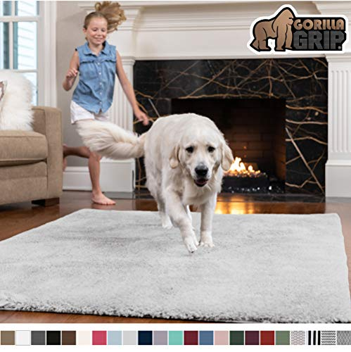 Gorilla Grip Original Faux-Chinchilla Area Rug, 7.5x10 Feet, Super Soft and Cozy High Pile Washable Carpet, Modern Floor Rugs, Luxury Shaggy Carpets for Home, Nursery, Bed and Living Room, Light Gray