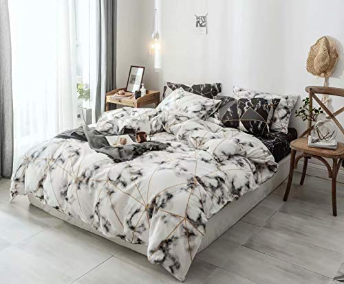 Wellboo White Duvet Cover Women Marble Bedding Cover Sets Cotton White and Gold Geometric Abstract Quilt Cover Triangle Plaid Bedding Cover Queen Full Black Texture Duvet Covers Adult Soft Luxury