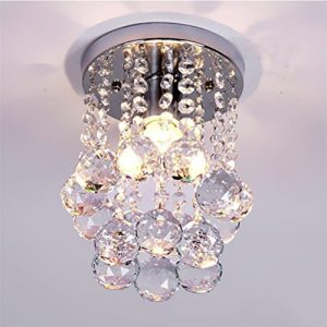 Mini Modern Crystal Chandeliers Flush Mount Rain Drop Pendant Ceiling Light for Girls Room,Bedroom(6.29Inch)