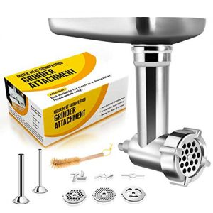Metal Food Grinder Attachments Compatible with All KitchenAid Stand Mixers, Durable Meat Processor Accessories, Sausage Stuffer Attachment, includes 2 Sausage Stuffer Tubes