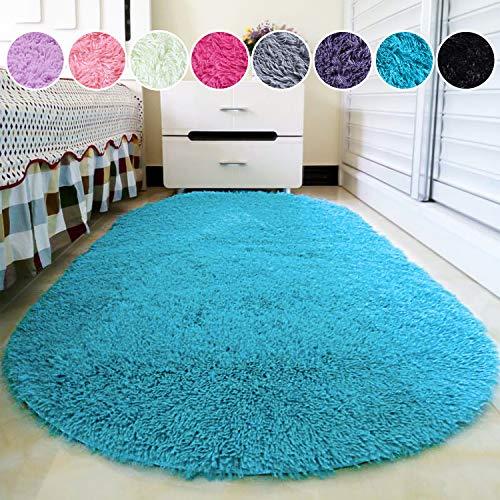 junovo Oval Fluffy Ultra Soft Area Rugs for Bedroom Plush Shaggy Carpet for Kids Room Bedside Nursery Mats, 2.6 x 5.3ft, Blue