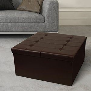 """Otto & Ben Coffee Table with Smart Lift Top Tufted Folding Faux Leather Trunk Ottomans Bench Foot Rest, 30"""" Square, Chocolate"""