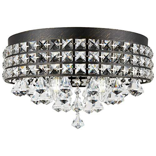 "Kira Home Gemma 15"" Modern Chic 4-Light Flush Mount Crystal Chandelier + Round Metal Shade, Dimmable, Brushed Black Finish"