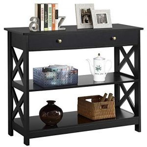 Yaheetech 3-Tier Sofa Side Console Table with 1 Drawer and 2 Storage Shelves Narrow Accent Table for Entryway/Hallway/Living Room, 39.3in L x 11.7in W x 31.5in H, Black