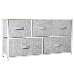 YITAHOME Wide Dresser with 5 Drawers - Fabric Storage Tower, Organizer Unit for Bedroom, Living Room, Hallway, Closets & Nursery - Sturdy Steel Frame, Wooden Top & Easy Pull Fabric Bins (Light Grey)