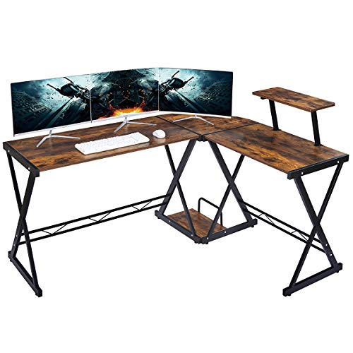 """GreenForest L Shaped Desk Large Size 64""""x50""""with Moveable Shelf, Gaming Computer Corner Desk Pc Studio Table Workstation for Home Office, Rustic Brown"""