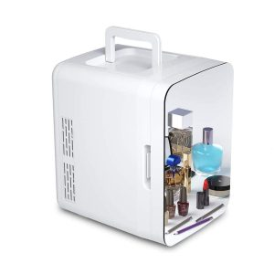 10 Liter Beauty Fridge, Compact Portable Cooler Warmer Mini Fridge for Bedroom, Office, Dorm, Car - Great for Skincare & Cosmetics