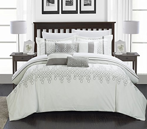 Chic Home Lauren 8 Piece Comforter Set, Queen, White