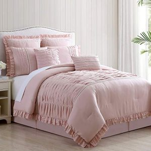 Amrapur Overseas Antonella 8-Piece Pleated Comforter Set, Queen, Mauve
