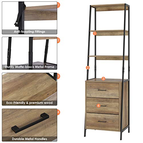HOMECHO Storage Cabinet, Ladder Shelf with Drawers, 3 Tier Open Shelves Package deal Dimensions: 20.1 x 15.7 x 68.9 inches