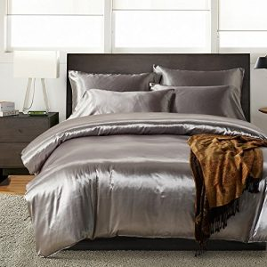 AiMay 3 Piece Duvet Cover Set (1 Duvet Cover + 2 Pillow Shams) Satin Silk Honeymoon Sexy Luxury 100% Super Soft Microfiber Bedding Collection (Queen, Gray)