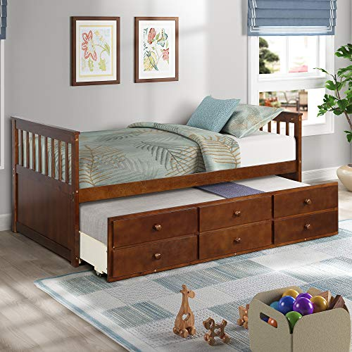 Solid Wood Twin Captains Bed Daybed with Trundle Bed Frame and Storage Drawers Bedroom Furniture for Kids Teens Guests Sleepovers,No Box Spring Needed (Walnut)