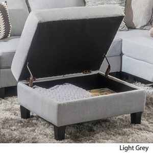 Christopher Knight Home Zahra Fabric Storage Ottoman, Light Grey