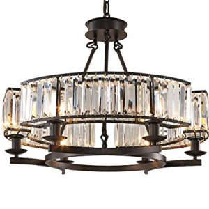 NOXARTE Luxury Round Crystal Chandelier Vintage Hanging Ceiling Light Pendant LED Dimmable Fixture for Dining Room Bedroom Black